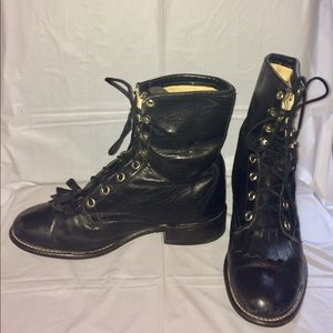 Black leather JUSTIN Laceup cowboy western Boots
